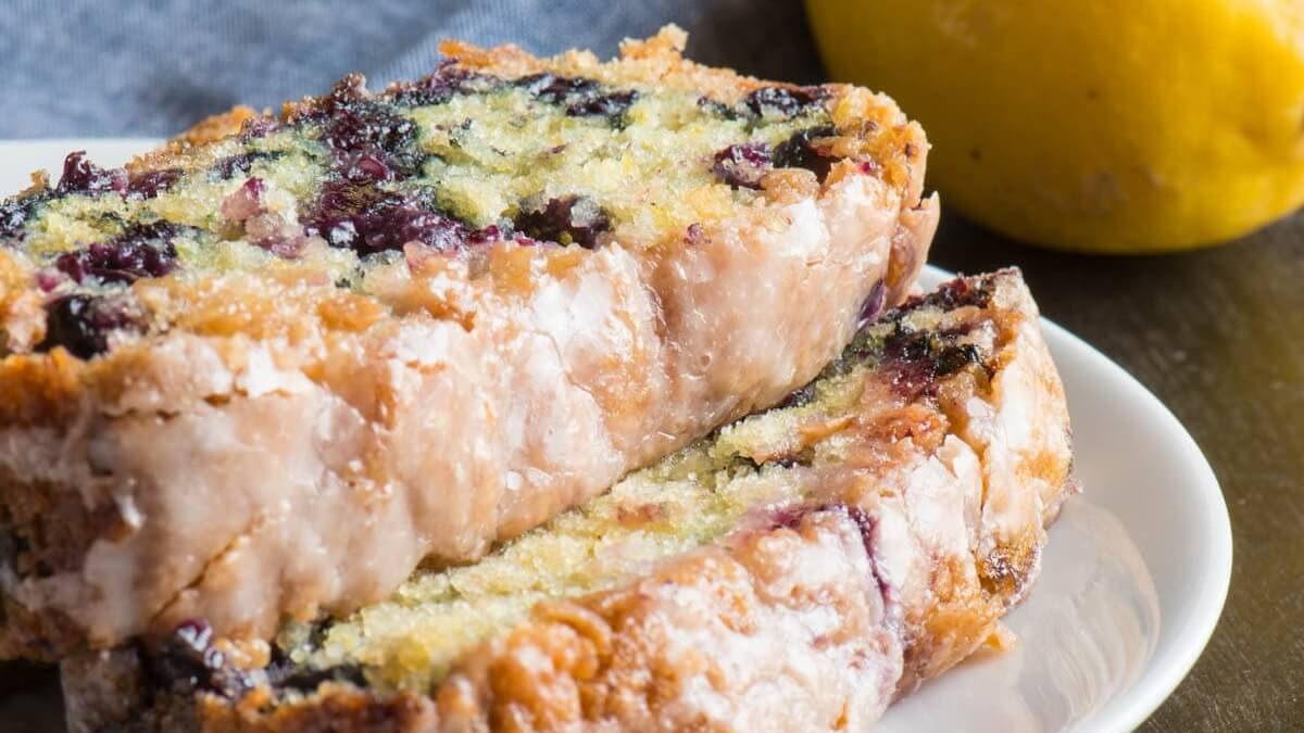 Vegan Blueberry Cake With a Tart Lemon Glaze
