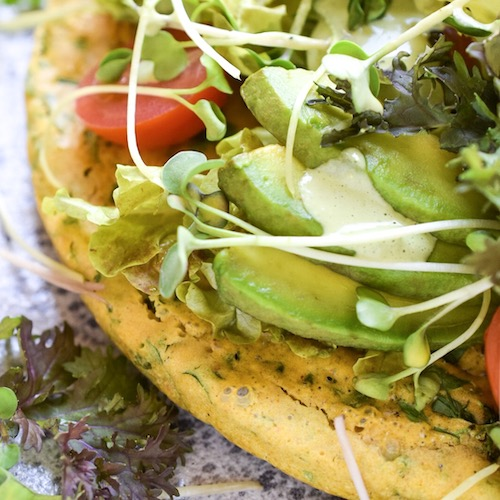 Vegan Chickpea Frittata With Herbed Tahini Sauce