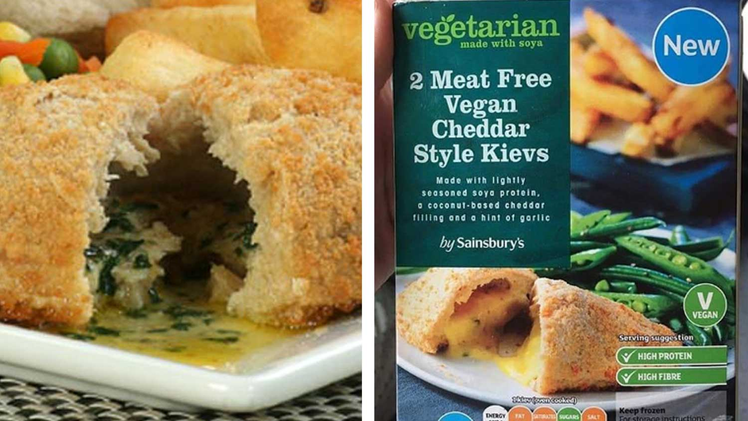 Sainsbury's Just Launched Vegan Cheddar Cheese Chicken Kievs