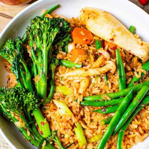 Vegan Fried Rice With Mushrooms and Kimchi