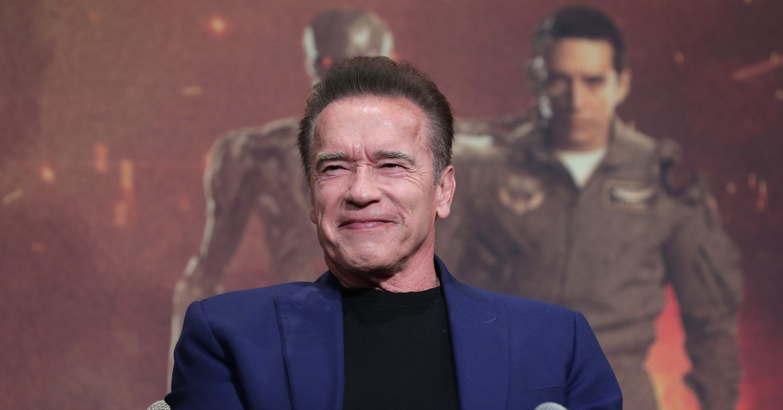 Arnold Schwarzenegger at a Terminator press conference