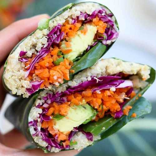 Pair These Rainbow Vegan Collard Wraps With Tahini Dressing