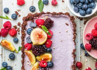 Raw Vegan Chocolate Berry Tart In a Walnut-Oat Crust
