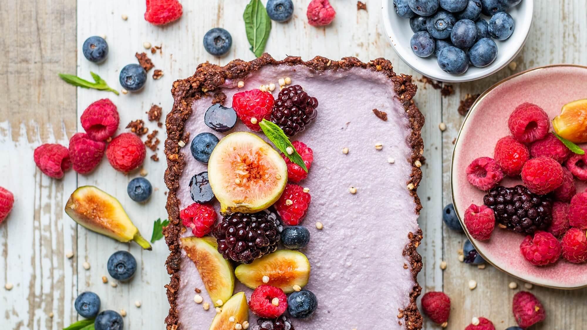 Raw Vegan Chocolate Berry Tart In a Walnut-Oat Crust