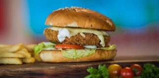 Vegan Sweet and Spicy Burgers Made of Chickpeas and Rice
