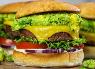 The Ultimate Vegan Mango and Avocado Topped Burger