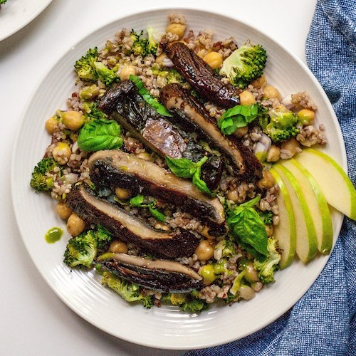 Meaty Vegan Portobello Mushroom and Chickpea Salad