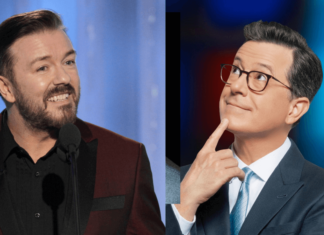 Ricky Gervais and Stephen Colbert Shared a Vegan Burger on the 'Late Show'