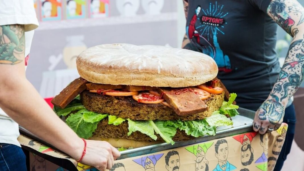 This Vegan Meat Company Just Made a 50lb Burger Cake