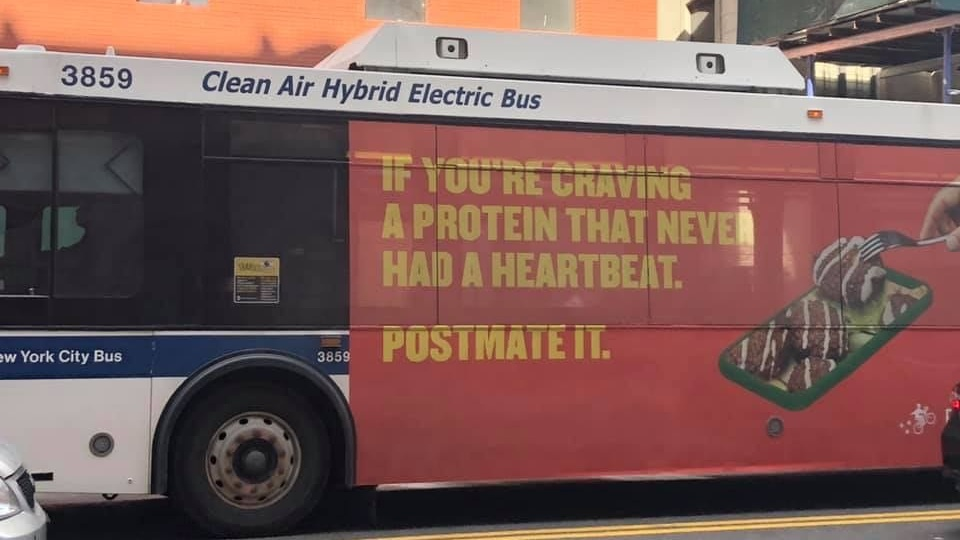 Postmates Promotes 'Protein That Never Had a Heartbeat' on Bus Campaign