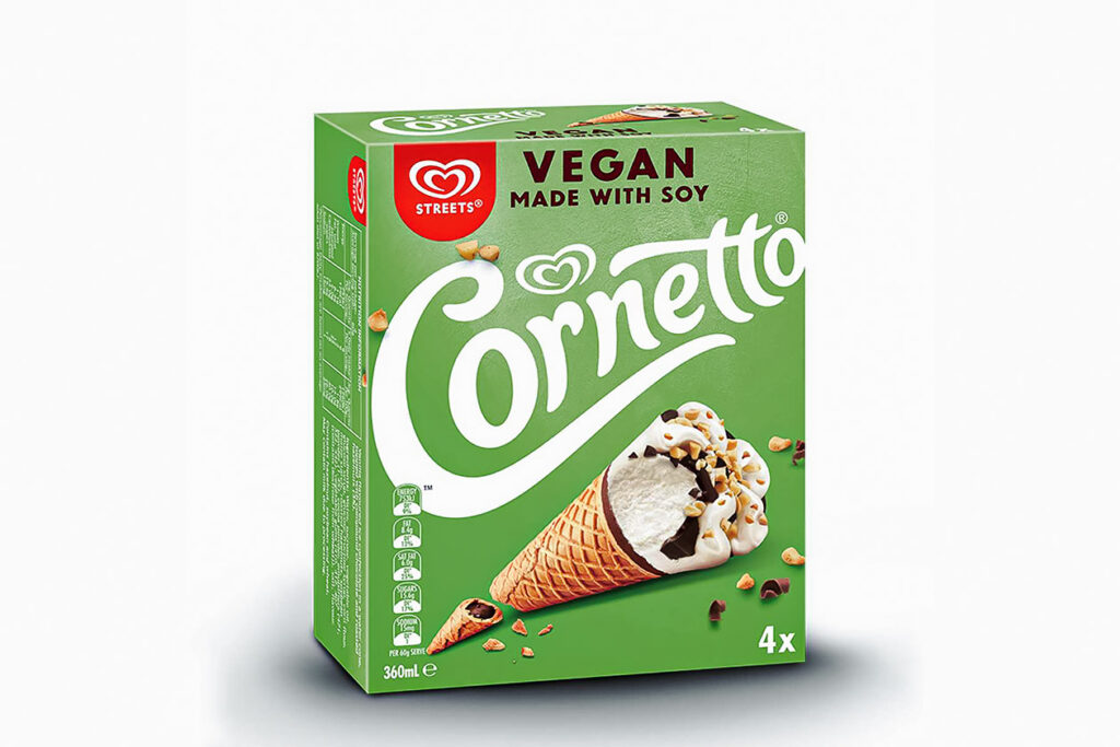 Photo of the vegan Cornetto ice creams customers can order from Pizza Hut Australia.