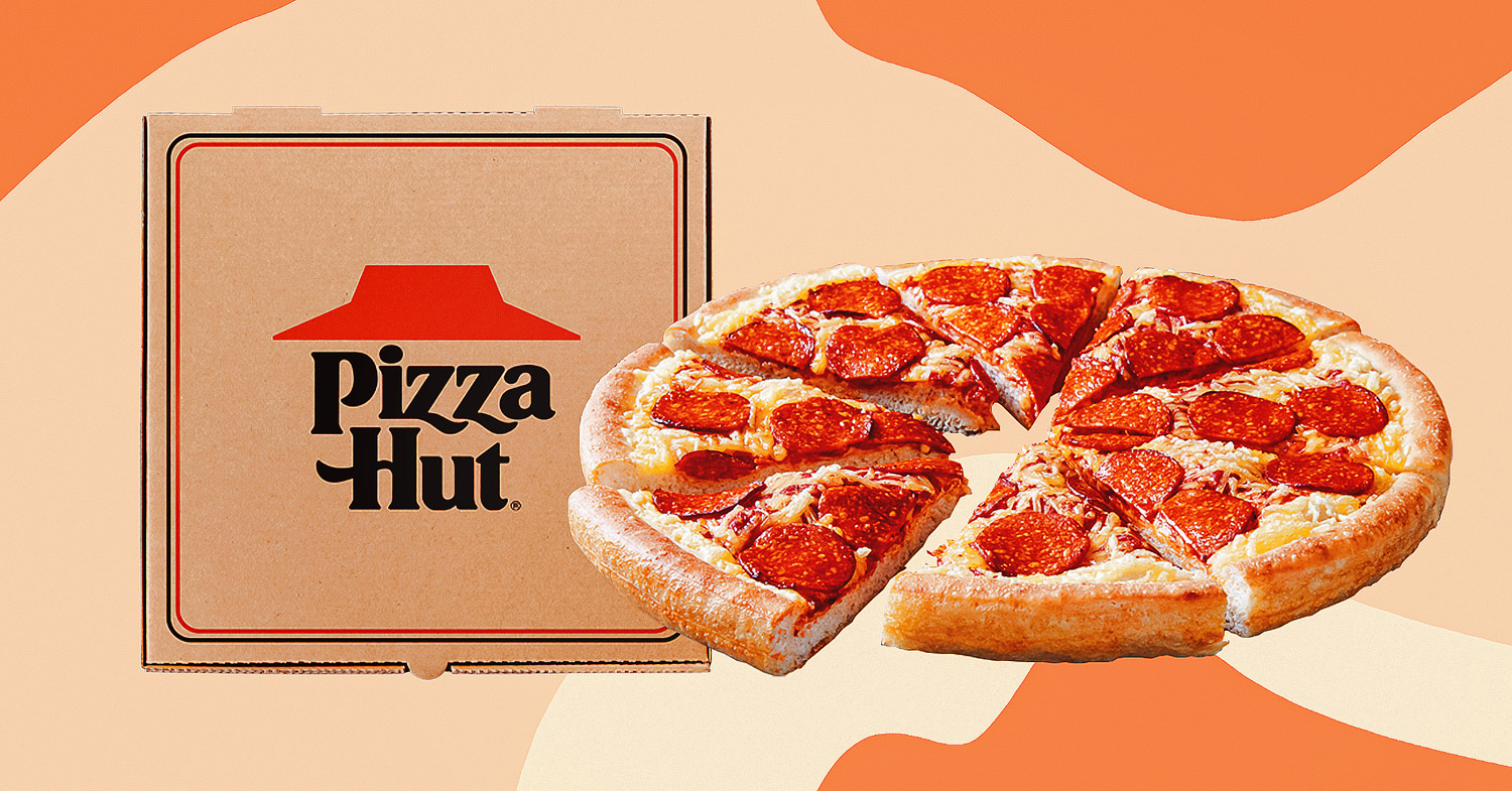 Collage of the pepperoni pizza offered by Pizza Hut restaurants alongside a branded box and on an orange background.