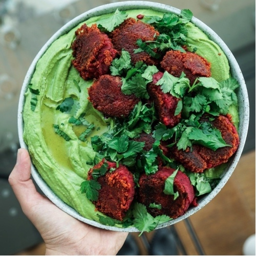 Beetroot Falafels and Spinach Hummus