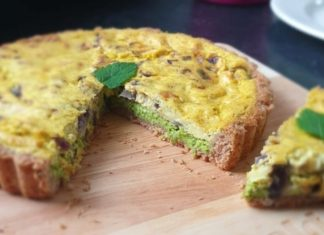 Vegan Egg-Free Quiche With Mint and Spring Peas