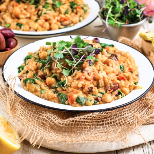 Make This Vegan Risotto With Chickpeas and Creamy Cashew Sauce