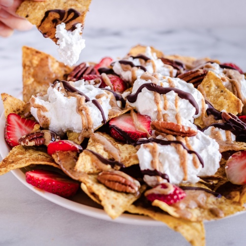 These Vegan Dessert Nachos Are Topped With Berries and Cream