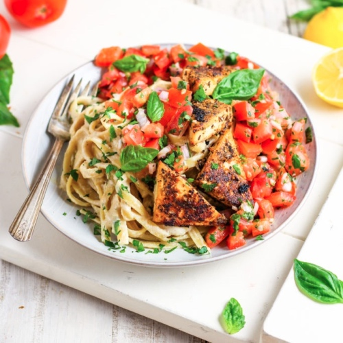 Vegan Fettuccine Alfredo With Lemon Tofu and Bruschetta