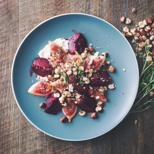 Vegan Plum and Fig Salad With Hazelnuts