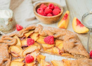 Vegan Peach Galette With Puff Pastry and Raspberries