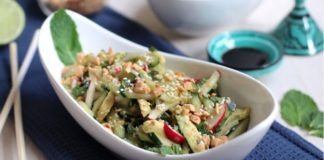Nutty Vegan Asian-Style Avocado and Cucumber Salad