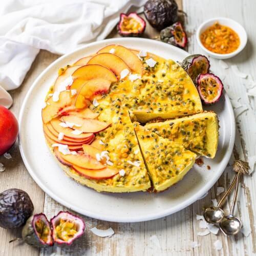 Raw Vegan Tropical Fruit Cheesecake With Goji Berry-Walnut Crust