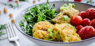 Vegan Chickpea Fritter Bowl With Spinach, Arugula, and Hummus