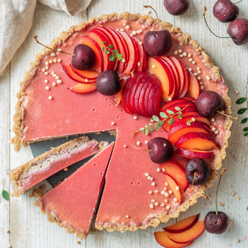 Vegan Plum Jelly Tart With a Raw Walnut Crust