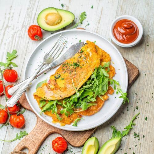 Vegan Veggie-Packed Fluffy and Light Chickpea Omelette