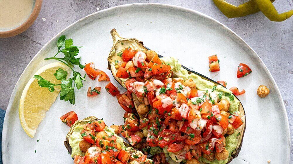 Vegan Baked Eggplant With a Creamy Avocado Spread