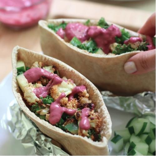 Vegan Cauliflower Shawarma With Blueberry Hummus
