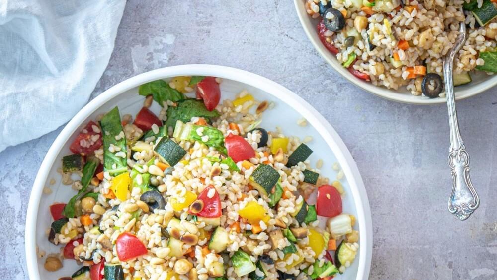 Vegan Italian Rice Salad With Smoked Tofu and Veggies