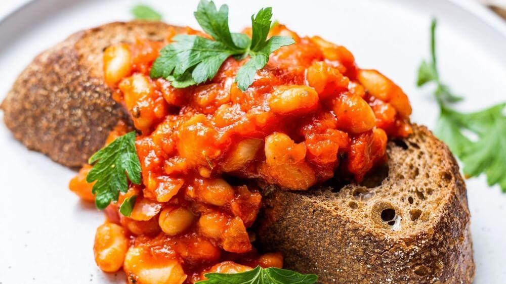 Vegan Baked Beans in Tomato Passata Sauce on Toast