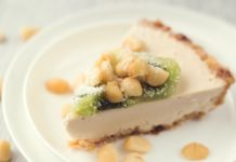 No-Bake Vegan Cashew Tart With Macadamia Nuts and Kiwi