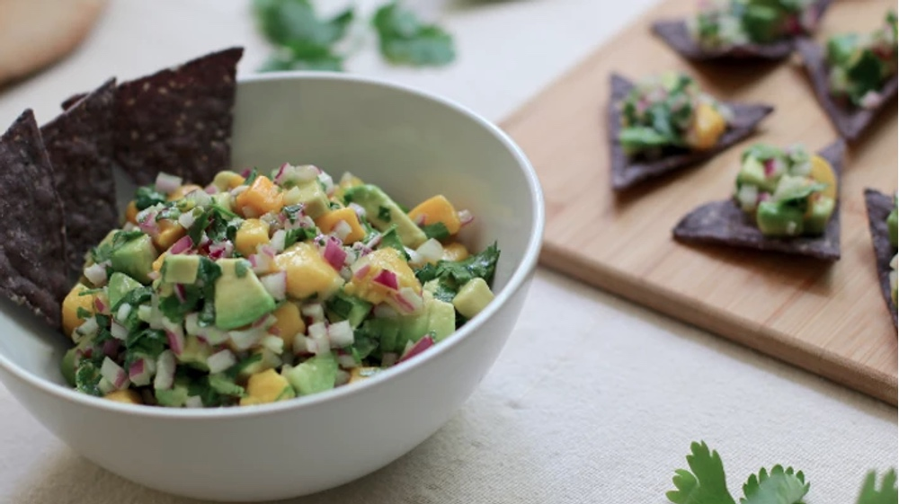 Vegan Quick and Easy Dip-Ready Mango Avocado Salsa