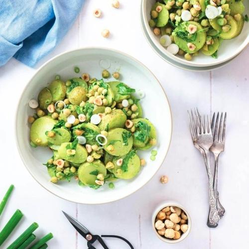 Creamy Vegan Potato Salad With Chickpeas and Hazelnuts