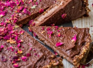 No-Bake Vegan Chocolate and Rose Tart
