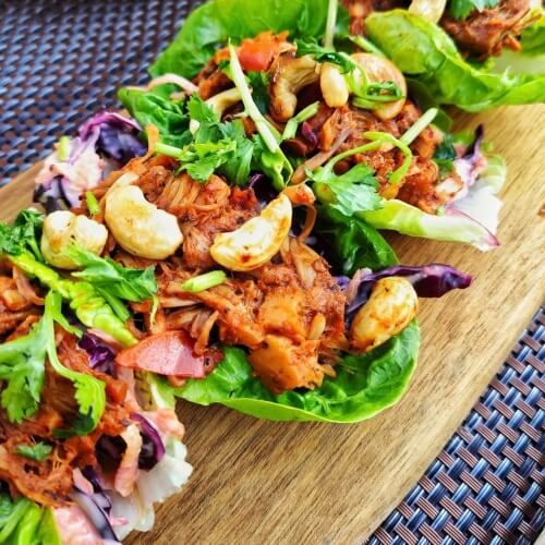 Vegan Jerk Marinated Jackfruit Lettuce Tacos With Coleslaw