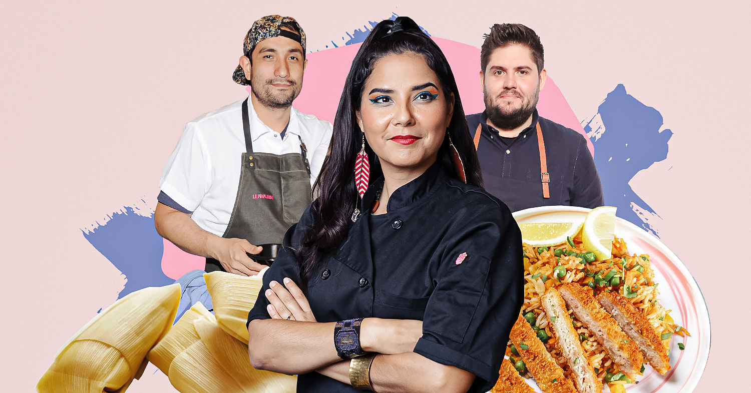 Image shows Erik Ramirez (left), Rebel Mariposa (center), and Fabian von Hauske (right) surrounded by food on a pale pink background. These Latinx chefs put fresh vegetables and vegan dishes center stage.