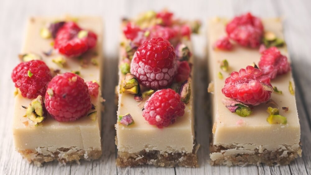 Vegan Macadamia White Chocolate Slices With Raspberries