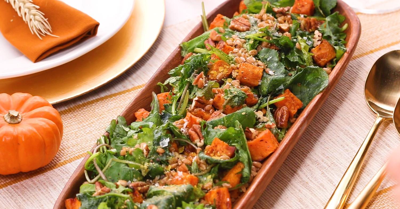 Hearty Thanksgiving Sweet Potato, Kale, and Farro Salad