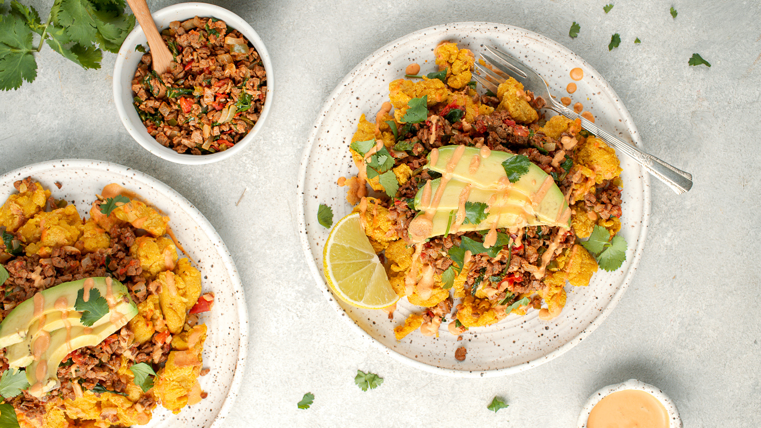 Chickpea Scramble With Vegan Taco Meat and Spicy Crema
