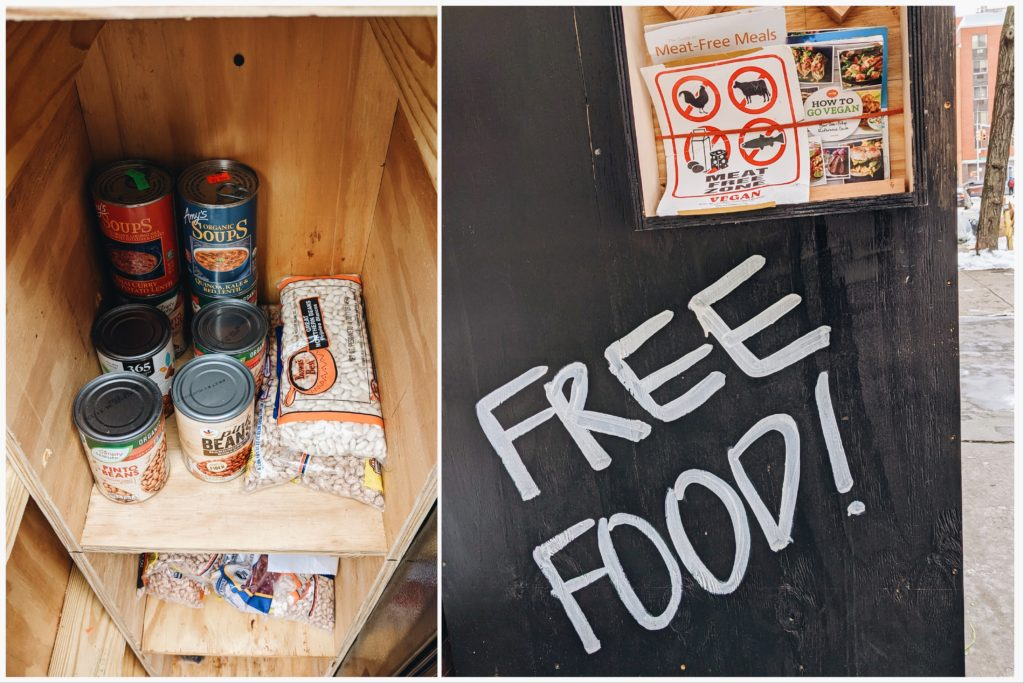 The community vegan fridge is located inside Overthrow Boxing Club. | Kat Smith for LIVEKINDLY