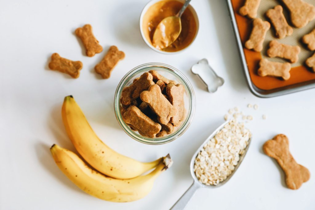 Your dog will love these peanut butter banana treats.   Flora and Vino