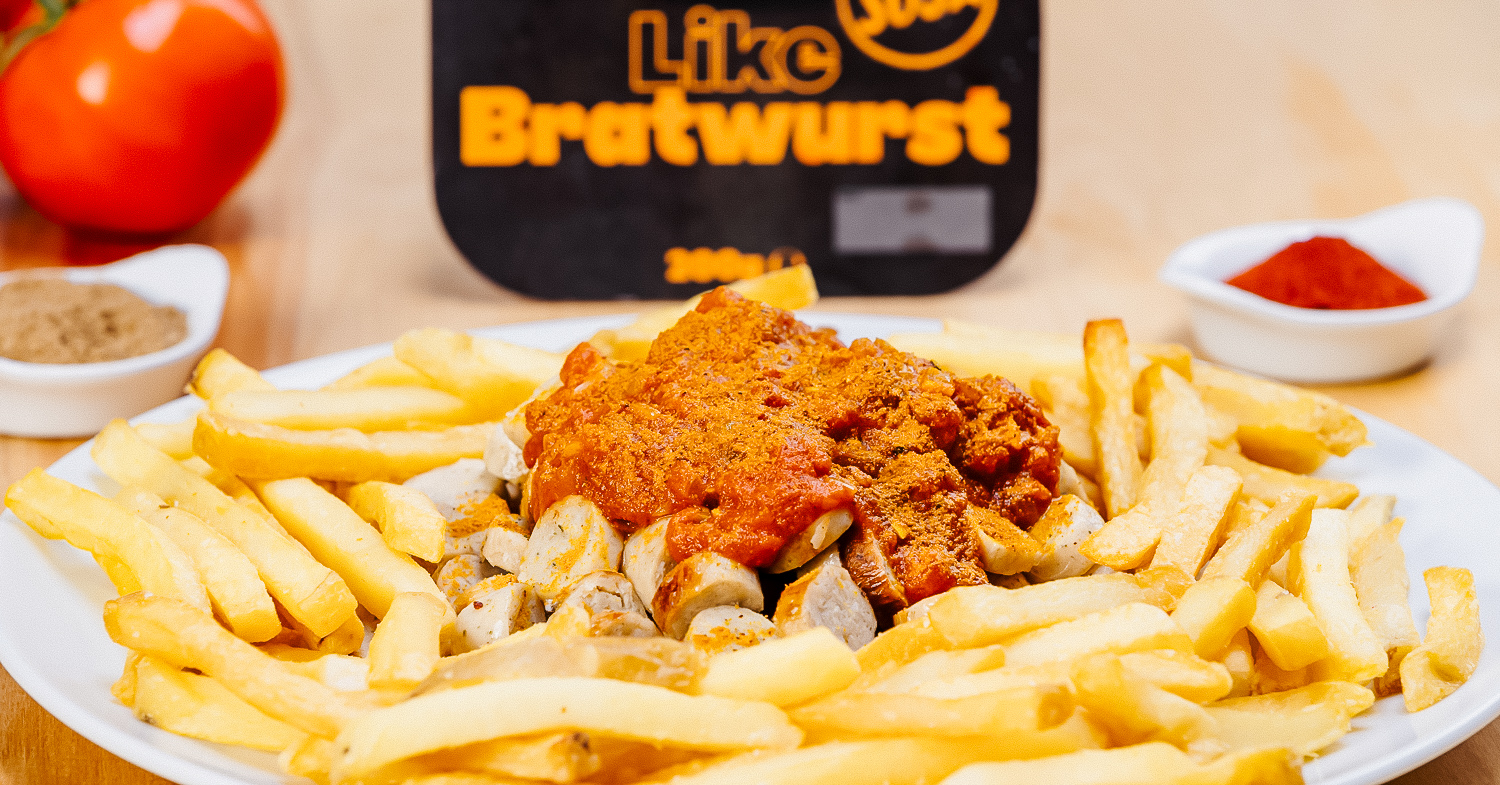 Vegan Brats and Fries With Currywurst Sauce