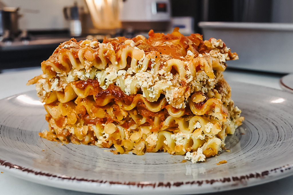 This vegan lasagna features layers of noodles, tofu ricotta, and red sauce. | Rose Lee/LIVEKINDLY