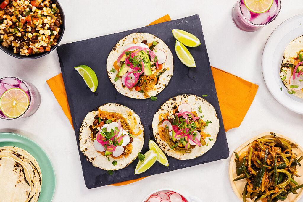 Vegan Cactus Tacos With Black Bean Salsa