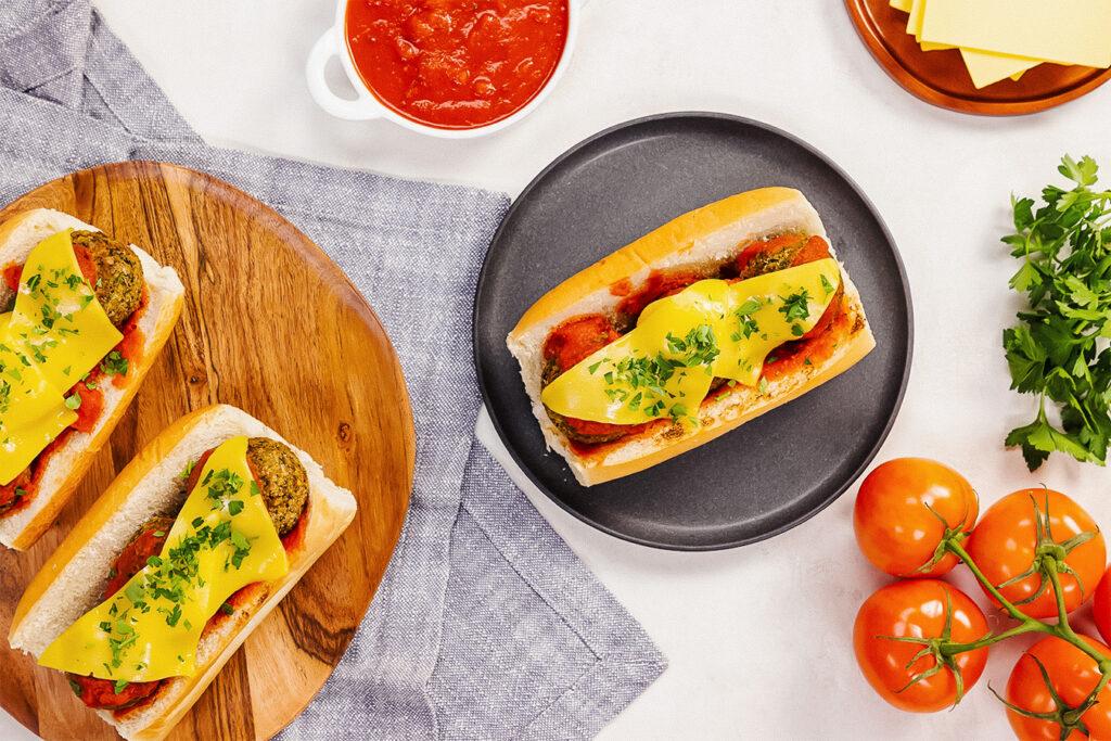 Vegan Meatball Sub Loaded With Marinara and Dairy-Free Cheese