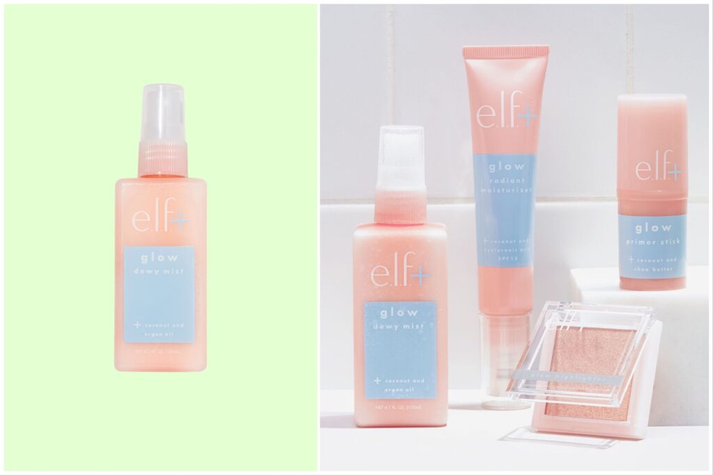 Split image: a face mist against a green background and the face mist with other Elf products on a bathroom shelf.