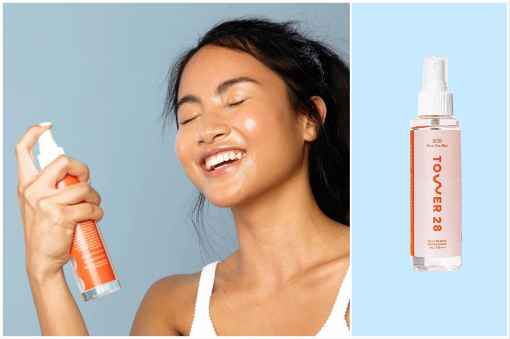 Split image: A woman sprays her face with Tower 28 facial spray and a bottle of facial spray against a blue background.