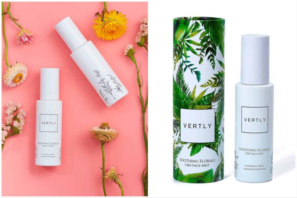 Vertly Face Mists against a pink background of flowers shared with a bottle of Vertly Face Mists next to the box.